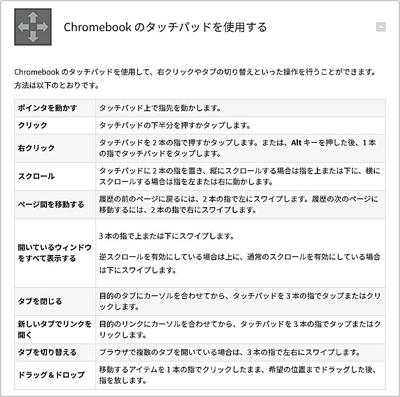 Chromebookタッチパッドジェスチャー