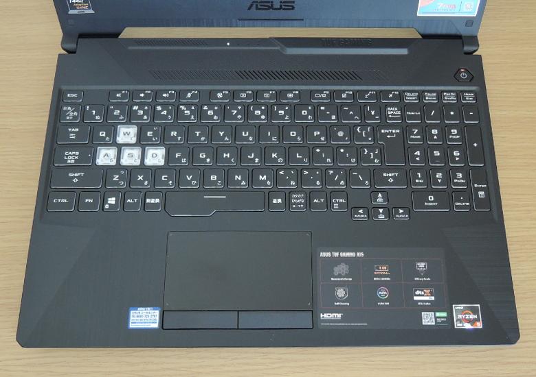 ASUS TUF Gaming A15 キーボード