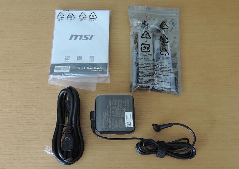MSI Modern 14 B10R 同梱物