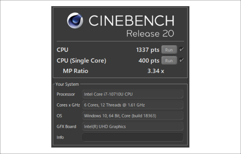 dynabook NZ65 CINEBENCH R20