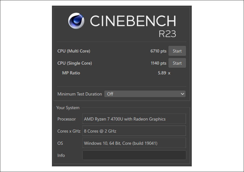 Lenovo IdeaPad Flex 550(14) CINEBENCH R23