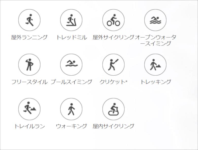 記録できる運動リスト