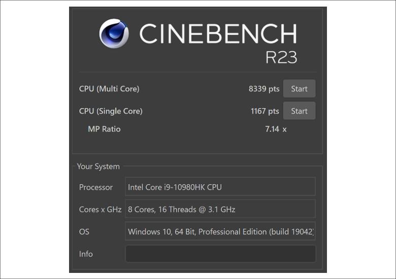 MSI GS66 Stealth 10U CINEBENCH R20