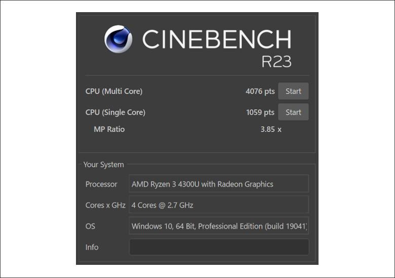 HP ProBook 635 Aero G7 CINEBENCH R23