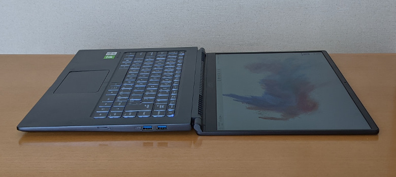 MSI Modern 15 A10RBS ヒンジ最大開口