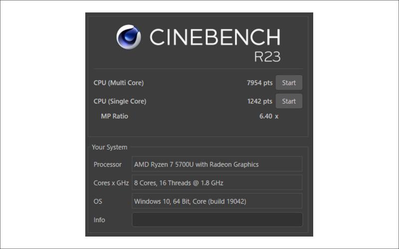 ASUS Zen AiO 24 A5401W CINEBENCH R23