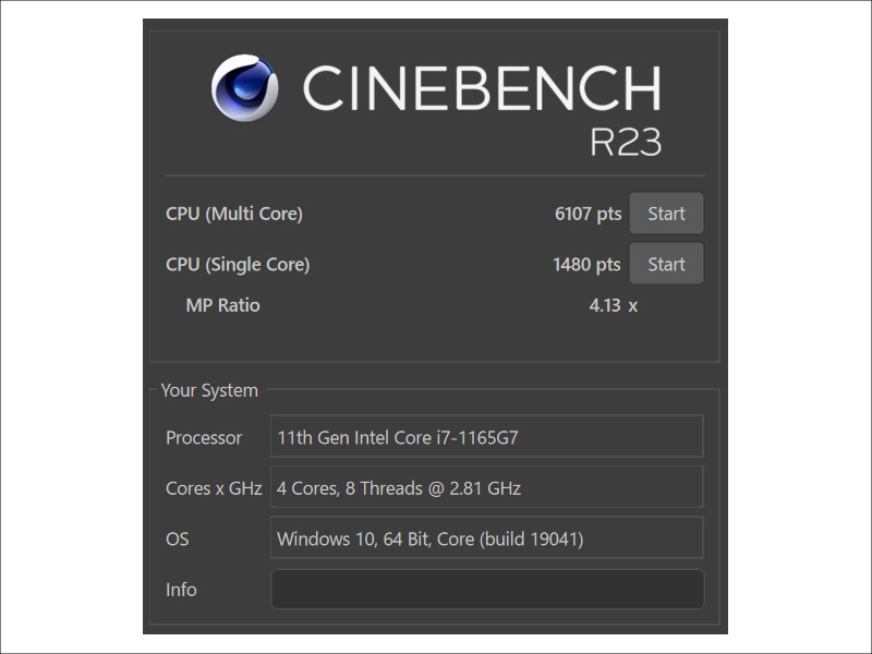 MSI Summit B14 A11 CINEBENCH R23