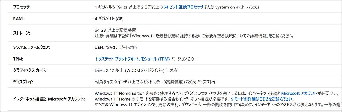 Windows 11システム要件